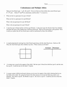 Genetics Problems Worksheet Answer Key Unique 16 Best Of In Plete and Codominance Worksheet