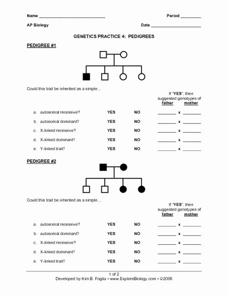 Genetics Problems Worksheet Answers Elegant Genetics Practice 4 Pedigrees Worksheet for 9th 12th