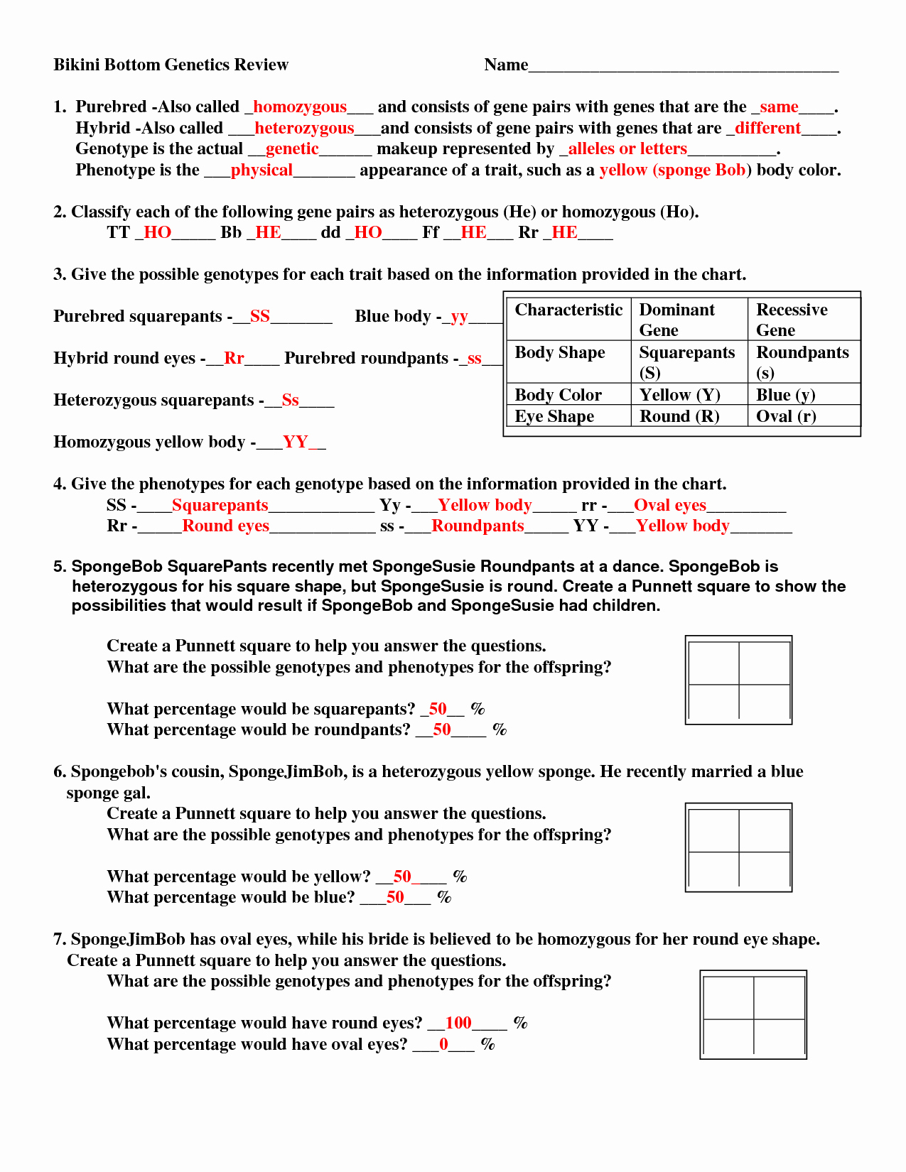 Genetics Worksheet Answer Key Unique 15 Best Of Genetic Punnett Squares Worksheets
