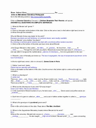 Genetics Worksheet Answers Key Elegant Genetics Webquest Intro by Aubrey Lee issuu