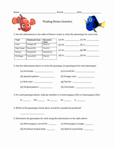 Genetics Worksheet Middle School Lovely Finding Nemo Worksheet On Genetics 7th 12th Grade