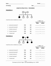 Genetics X Linked Genes Worksheet Luxury Genetics Practice 4 Pedigrees 9th 12th Grade Worksheet