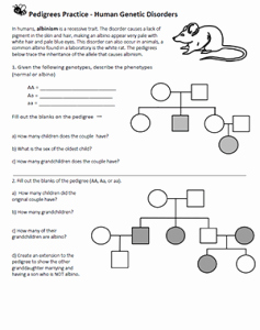 Genetics X Linked Genes Worksheet Unique Pedigrees – Human Genetic Disorders