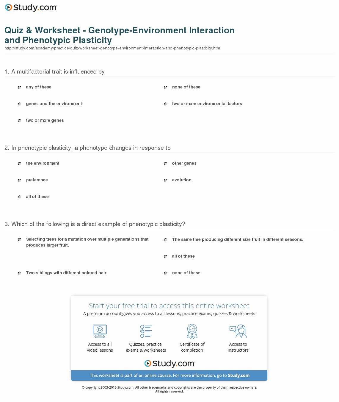 Genotypes and Phenotypes Worksheet Answers Fresh Quiz & Worksheet Genotype Environment Interaction and