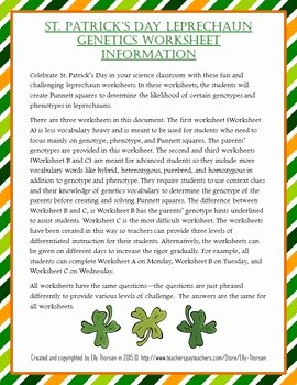 Genotypes and Phenotypes Worksheet Answers Inspirational St Patrick S Day Leprechaun Genotype and Phenotype