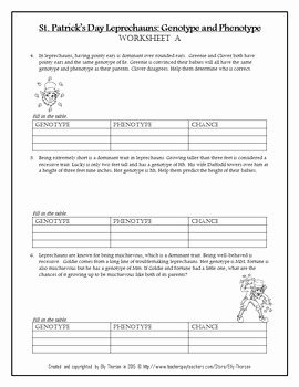Genotypes and Phenotypes Worksheet Best Of St Patrick S Day Leprechaun Genotype and Phenotype