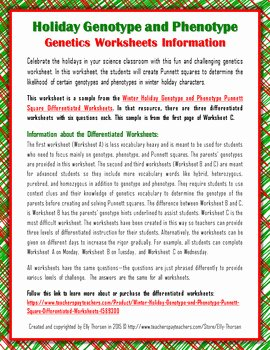Genotypes and Phenotypes Worksheet Best Of Winter Holiday Genetics Punnett Square Worksheet Freebie