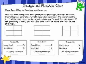 Genotypes and Phenotypes Worksheet New Genetics and Punnett Square Activity Alien Genotype and