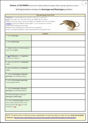 Genotypes and Phenotypes Worksheet New S1 9 Genetic Variation Ex