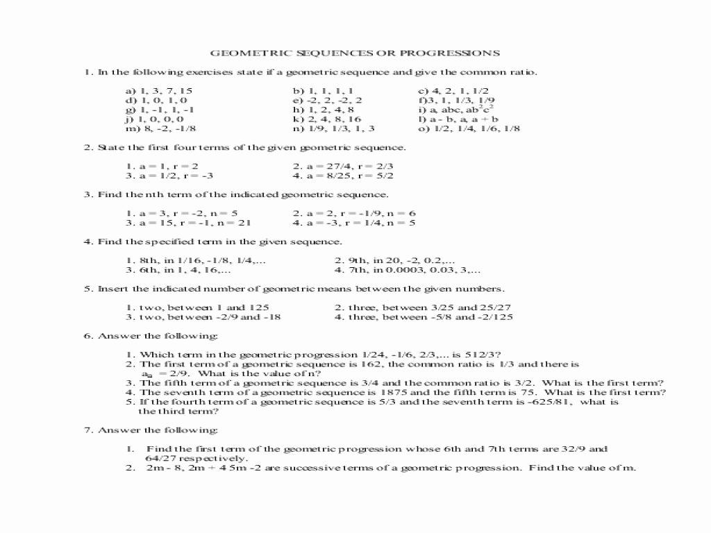 Geometric and Arithmetic Sequence Worksheet Inspirational Geometric Sequences Worksheet