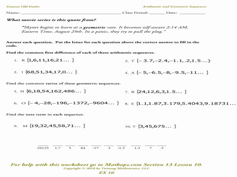 Geometric and Arithmetic Sequence Worksheet New Arithmetic and Geometric Sequences Worksheet