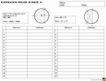Geometric Proofs Worksheet with Answers Fresh Circles Proofs Two Column Proof Practice and Quiz by