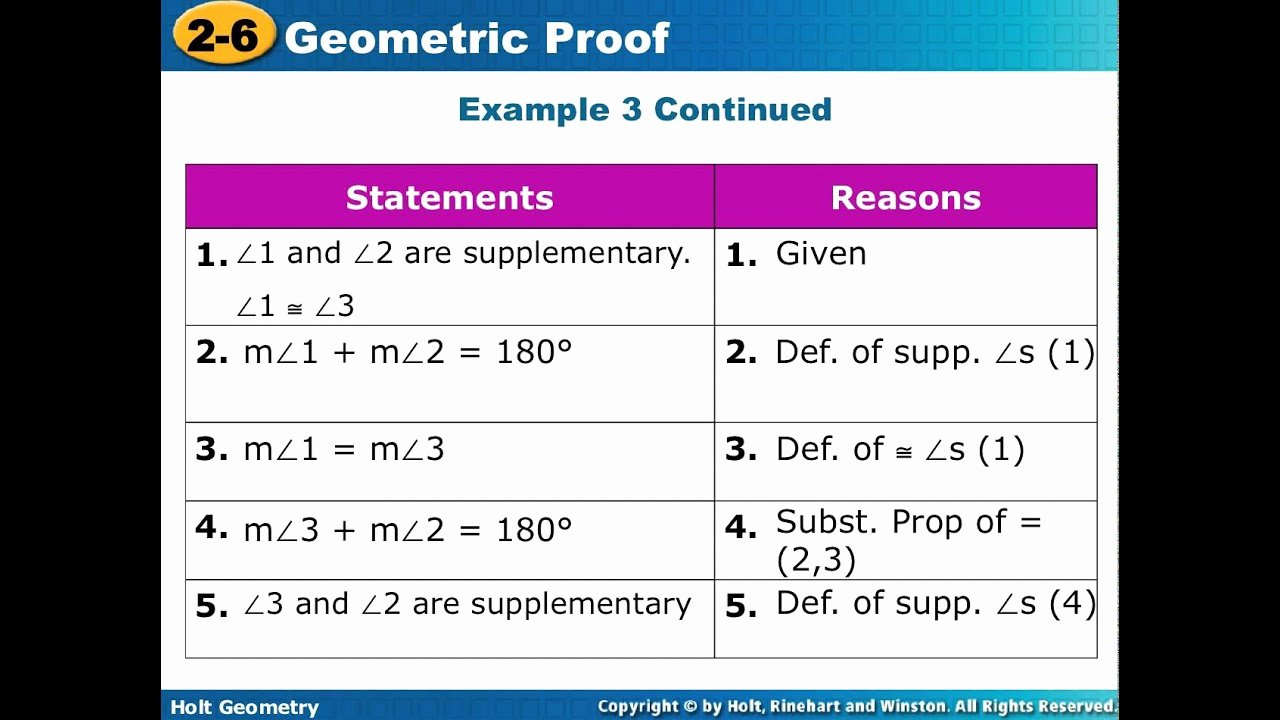 Geometric Proofs Worksheet with Answers New Geometry Lesson 2 6 2 7 Pleting Proofs
