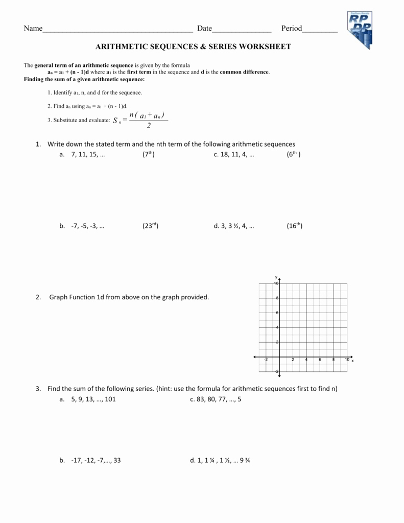 Geometric Sequence and Series Worksheet Beautiful Geometric and Arithmetic Sequences Worksheet the Best