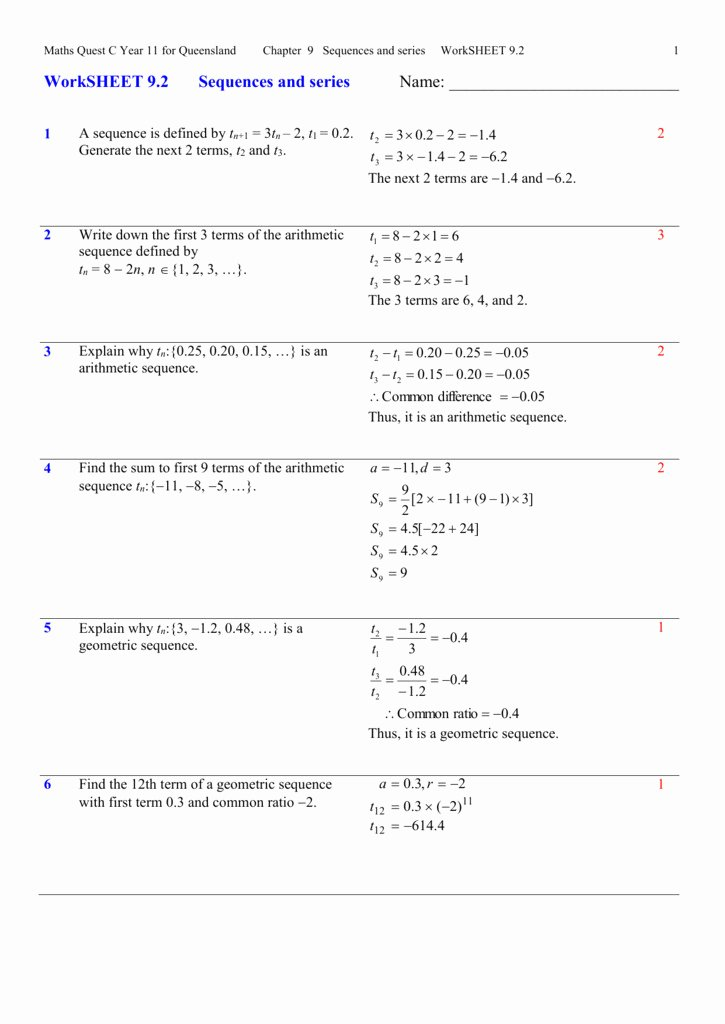 Geometric Sequence and Series Worksheet Best Of Arithmetic and Geometric Sequences Worksheet