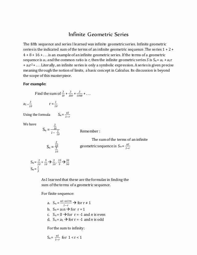 Geometric Sequence and Series Worksheet Fresh Geometric Sequences Worksheet