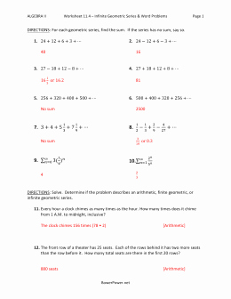 Geometric Sequence and Series Worksheet Lovely Lesson 5 Homework Infinite Geometric Series
