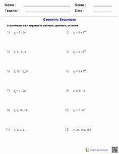 Geometric Sequence and Series Worksheet Lovely Sequences and Series Worksheets Algebra 2 Worksheets