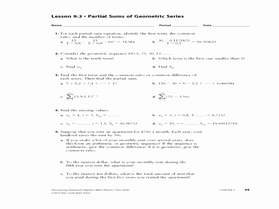 Geometric Sequence and Series Worksheet Unique 22 Arithmetic and Geometric Sequences Mon Core Algebra