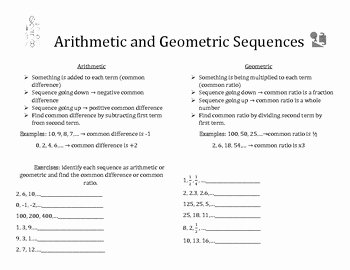 Geometric Sequence Practice Worksheet Lovely Arithmetic and Geometric Sequences Notes and Practice by