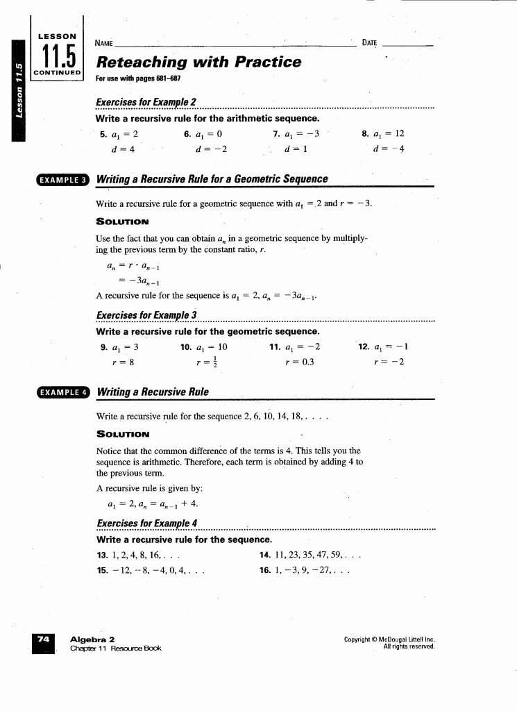 Geometric Sequence Worksheet Answers Fresh Arithmetic and Geometric Sequences Worksheet Answers