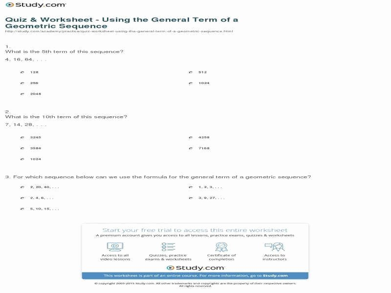 Geometric Sequence Worksheet Answers Lovely Arithmetic and Geometric Sequences Worksheet