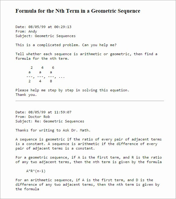Geometric Sequence Worksheet Answers Luxury Arithmetic and Geometric Sequences Word Problems Worksheet