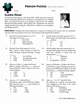 Geometric Sequence Worksheet Answers New Person Puzzle Geometric Sequences Clara Hale Worksheet