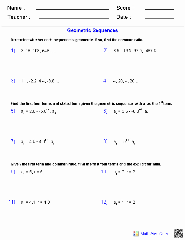 Geometric Sequence Worksheet Answers Unique Algebra 2 Worksheets