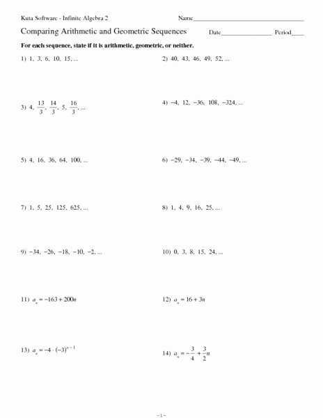Geometric Sequences Worksheet Answers Best Of Arithmetic Sequences 6th Grade Geometric Sequence