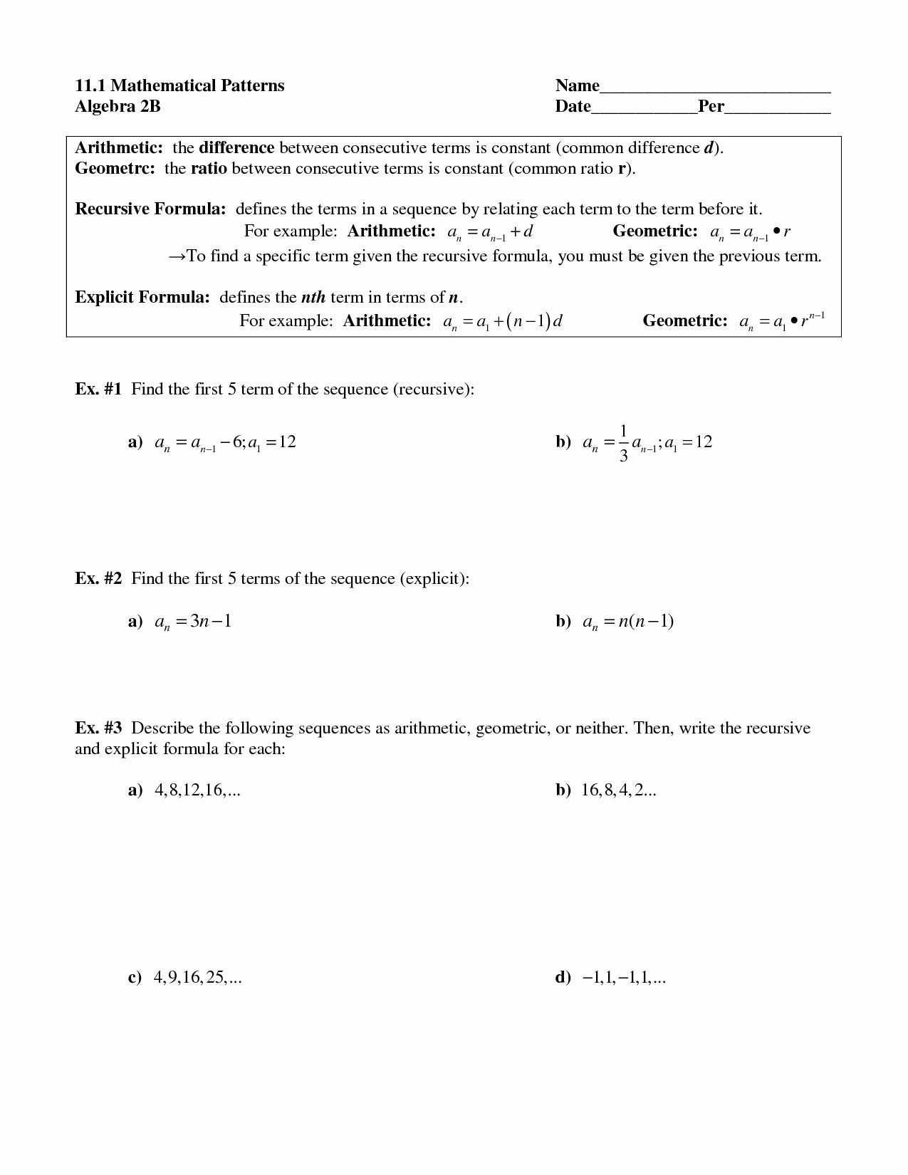 Geometric Sequences Worksheet Answers Inspirational 9 Best Of Arithmetic Recursive and Explicit