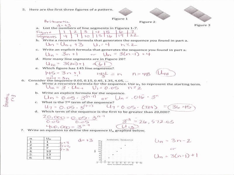 Geometric Sequences Worksheet Answers Luxury Arithmetic and Geometric Sequences Worksheet