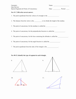 Geometry Points Of Concurrency Worksheet Awesome Geometry Chapter 5 Quiz Multiple Choice Worth