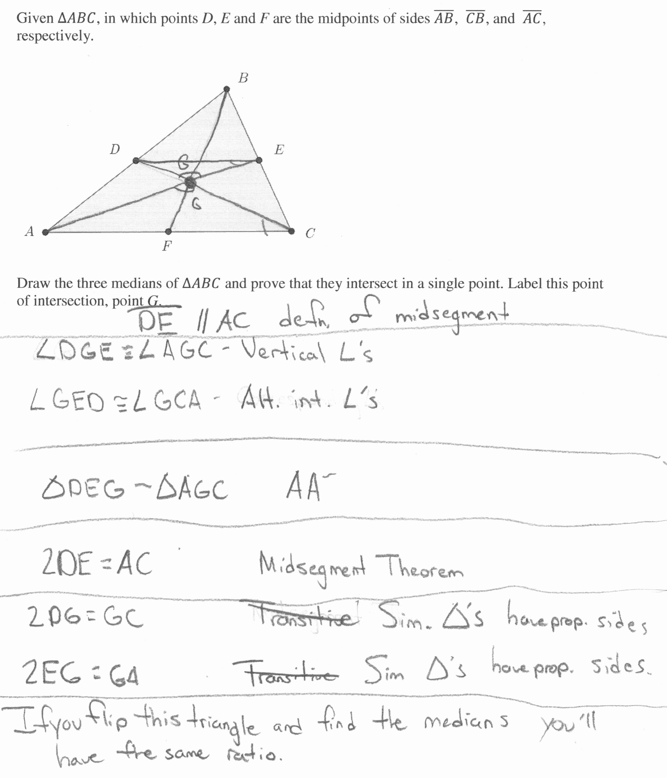 Geometry Points Of Concurrency Worksheet Awesome Median Concurrence Proof