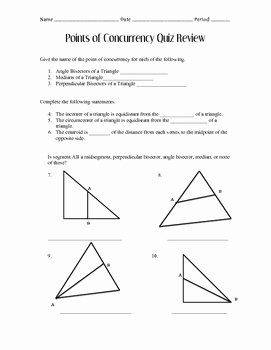 Geometry Points Of Concurrency Worksheet Beautiful Points Of Concurrency Quiz Review by Ms Simpsons Store