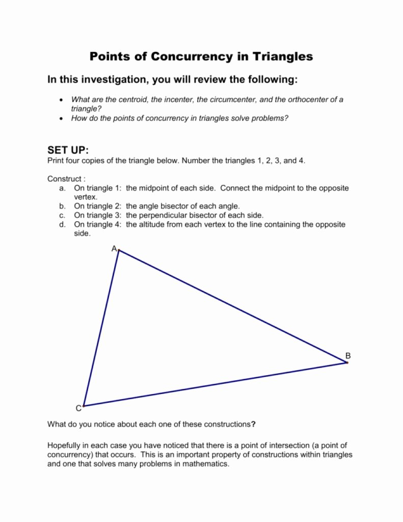Geometry Points Of Concurrency Worksheet Fresh Cool Points Concurrency In Triangles which Exists In by