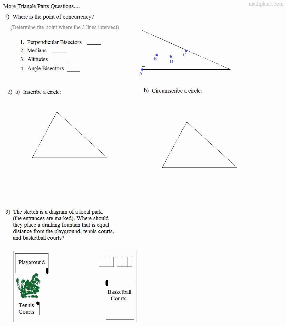 Geometry Points Of Concurrency Worksheet Inspirational Math Plane Triangle Parts Median Altitude Bisectors