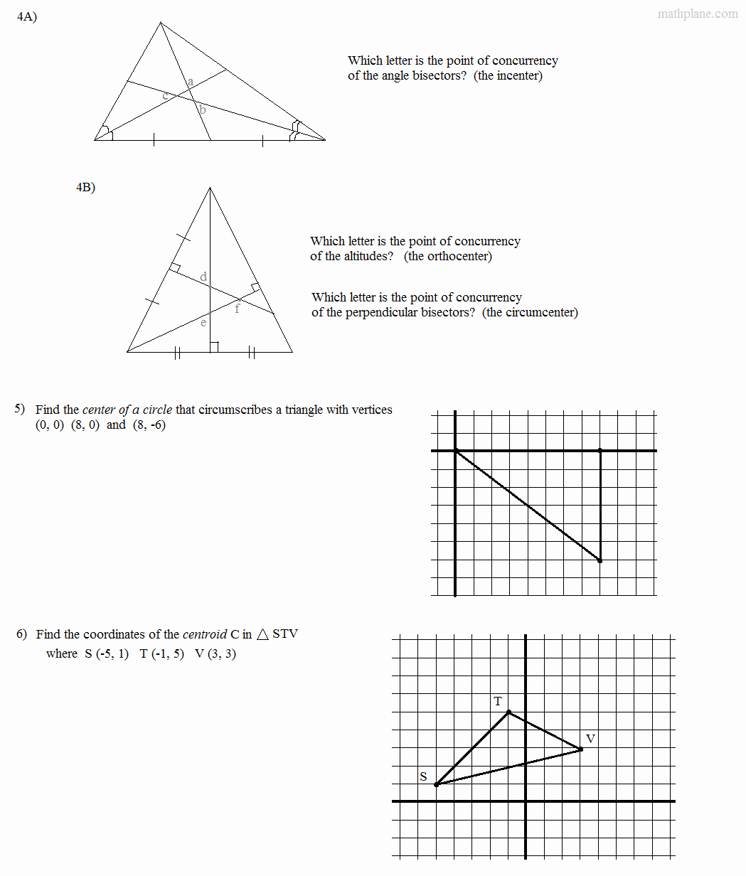 Geometry Points Of Concurrency Worksheet New Math Plane Triangle Parts Median Altitude Bisectors