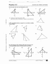 Geometry Points Of Concurrency Worksheet New Practice 5 3 Concurrent Lines Medians and Altitudes 9th