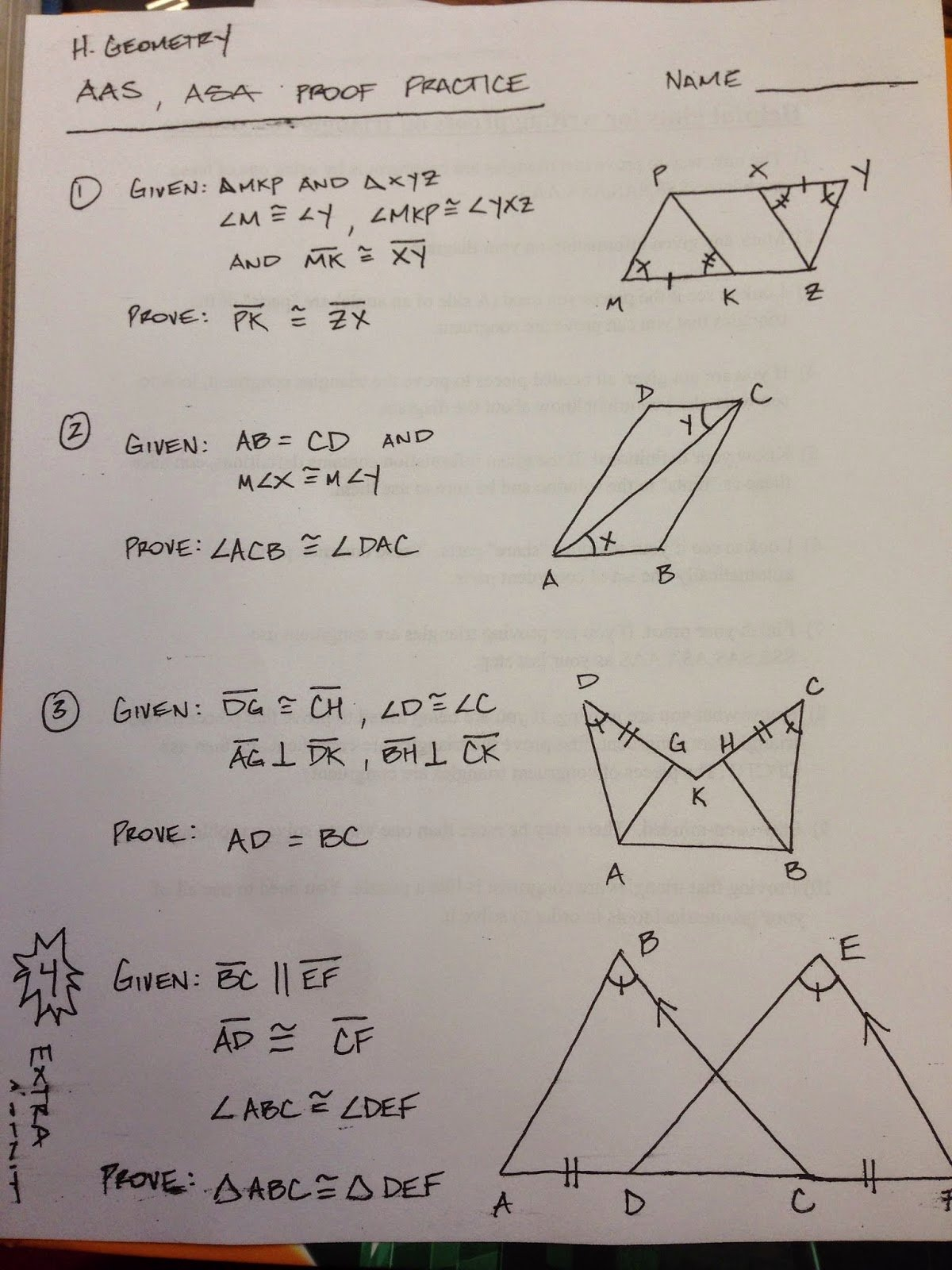 Geometry Proof Practice Worksheet Unique Honors Geometry Vintage High School Section 4 5 Proof