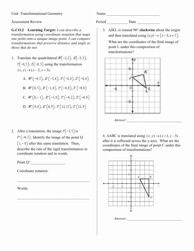 Geometry Transformation Composition Worksheet Best Of Geometry Transformation Position Worksheet Answers