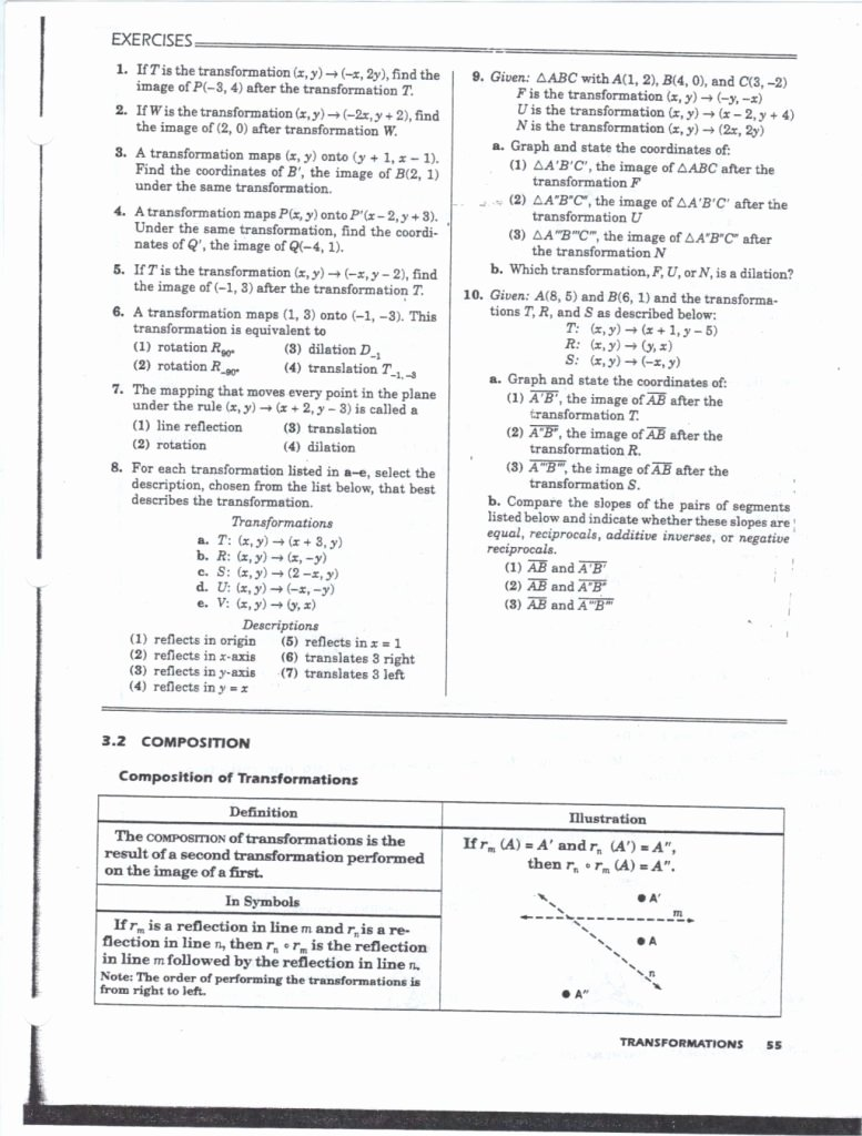 Geometry Transformation Composition Worksheet Fresh Cool Geometry Transformation Position Worksheet Answers