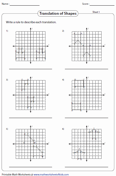 Geometry Transformations Worksheet Answers Best Of Translation Worksheets