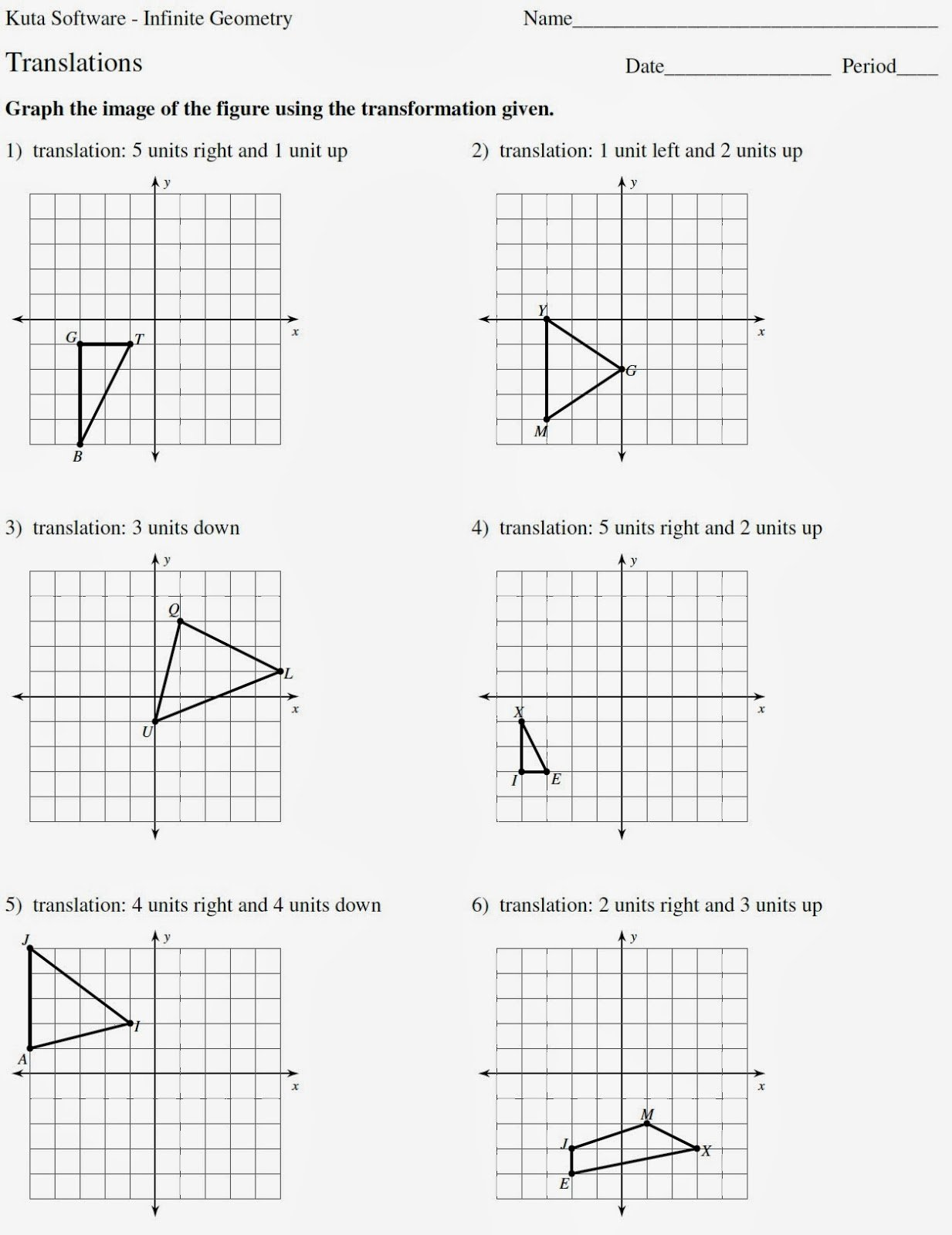 Geometry Transformations Worksheet Answers Lovely Mr Matt S Math Classes assignment Translations