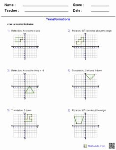 Geometry Transformations Worksheet Answers New Math Reflections Rotations Translations On Pinterest