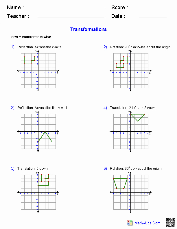 Geometry Transformations Worksheet Pdf Elegant Geometry Worksheets