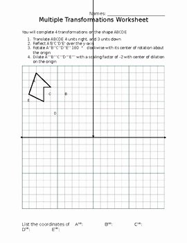 Geometry Transformations Worksheet Pdf Fresh Multiple Transformations Worksheet by Peter Richards