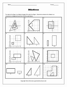 Geometry Transformations Worksheet Pdf Lovely Transformations Dilations Worksheets by Funsheets4math