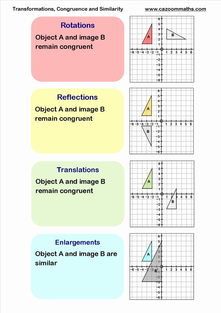 Geometry Transformations Worksheet Pdf Luxury Transformations Congruency and Similarity