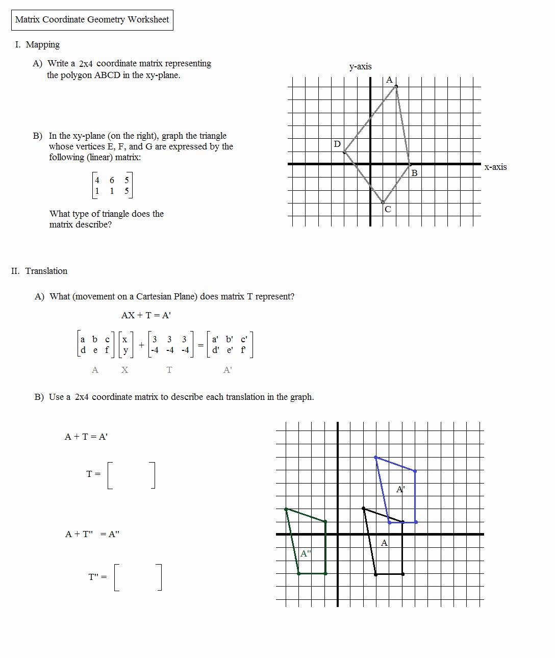 Geometry Transformations Worksheet Pdf New Math Plane Matrix Iii Coordinate Geometry